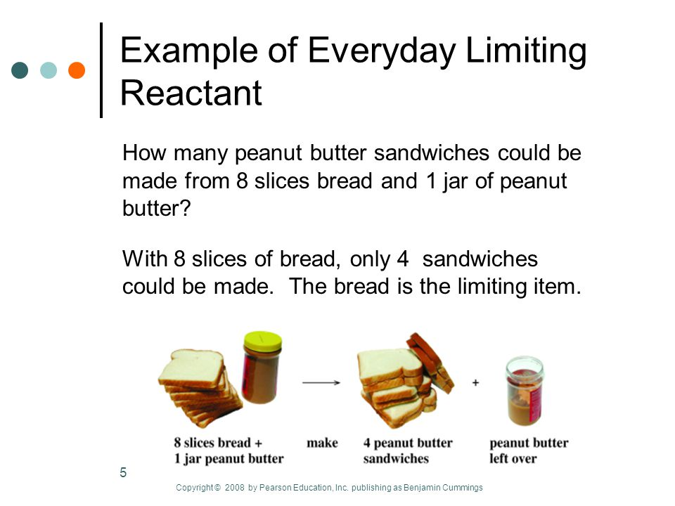 5 Example of Everyday Limiting Reactant How many peanut butter sandwiches could be made from 8 slices bread and 1 jar of peanut butter.