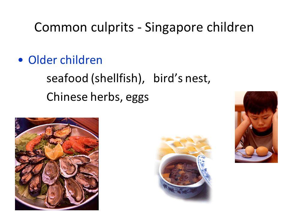 Common culprits - Singapore children Older children seafood (shellfish), bird's nest, Chinese herbs, eggs