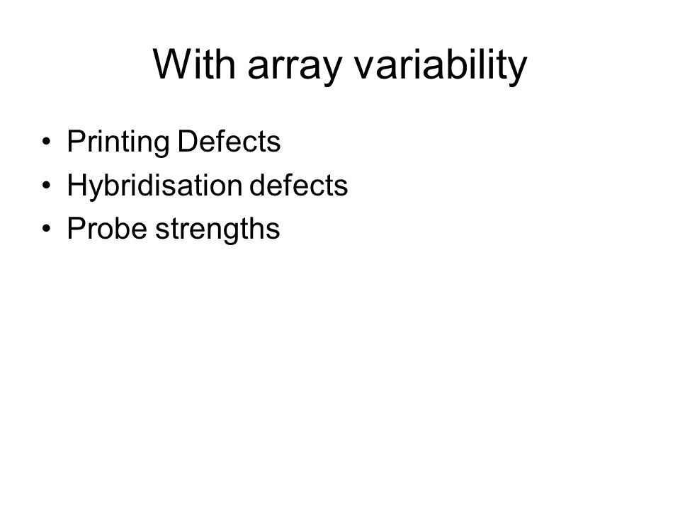 With array variability Printing Defects Hybridisation defects Probe strengths