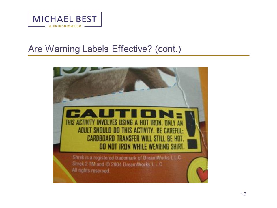 13 Are Warning Labels Effective? (cont.)