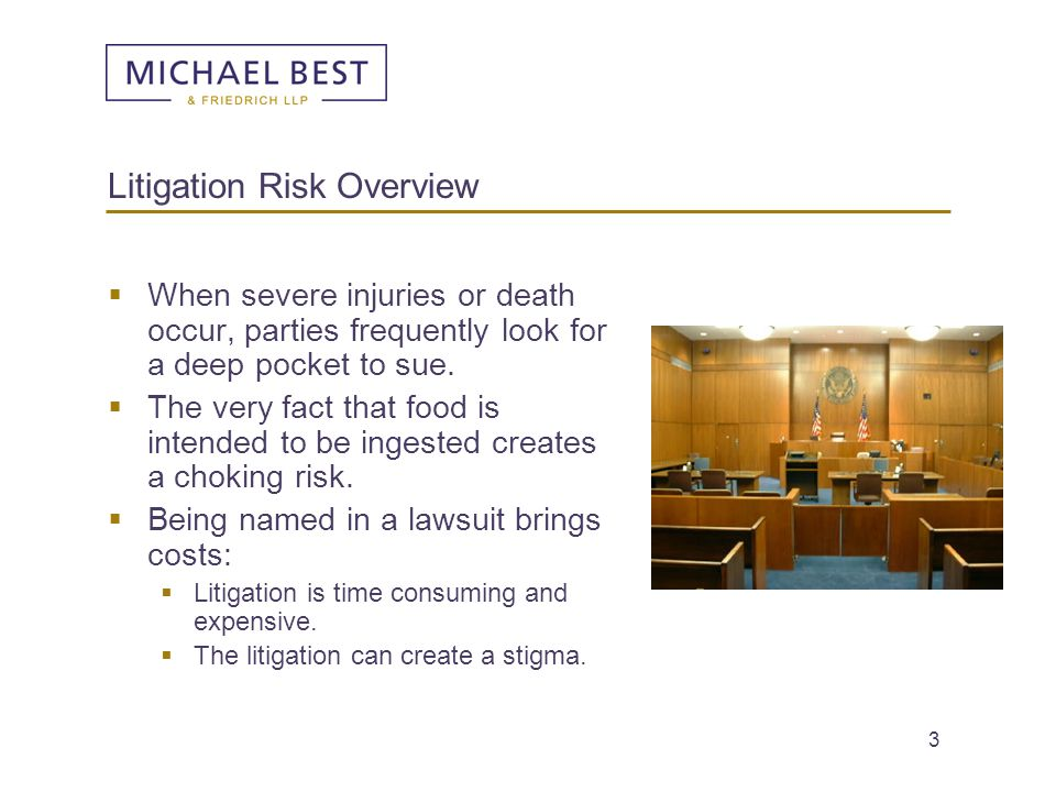 3 Litigation Risk Overview  When severe injuries or death occur, parties frequently look for a deep pocket to sue.  The very fact that food is inten