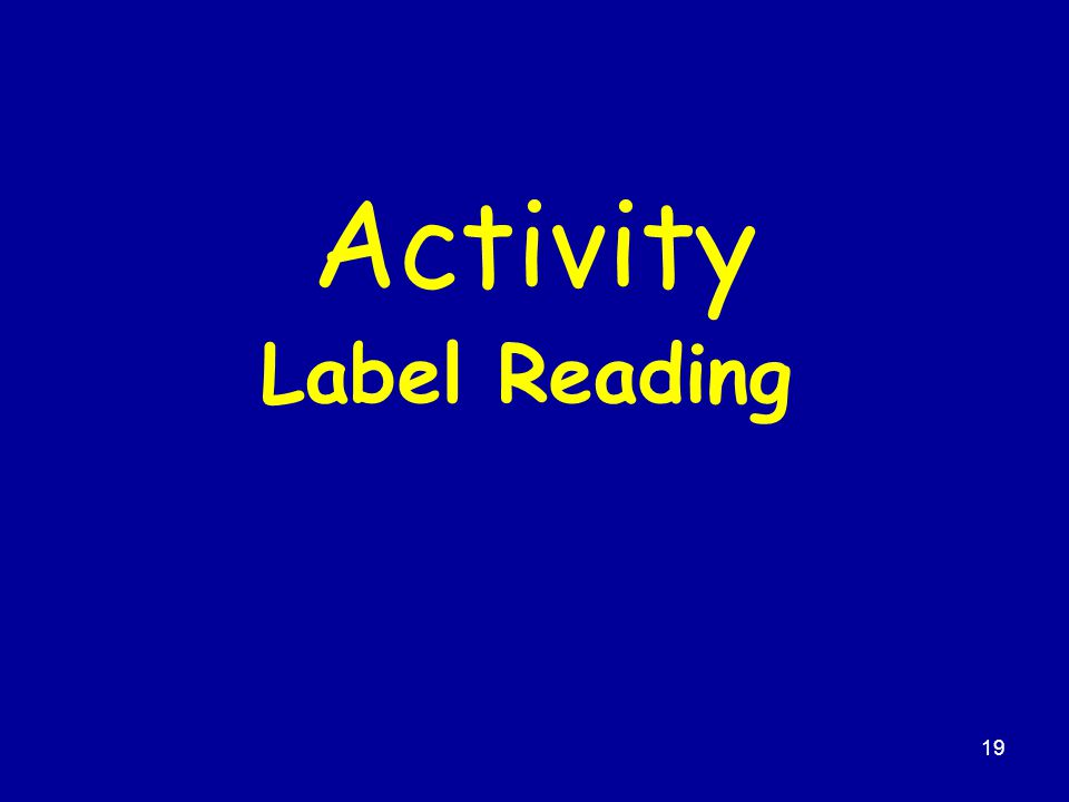 19 Activity Label Reading