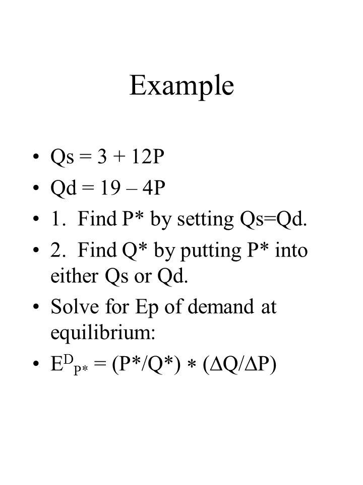 Example Qs = 3 + 12P Qd = 19 – 4P 1. Find P* by setting Qs=Qd.