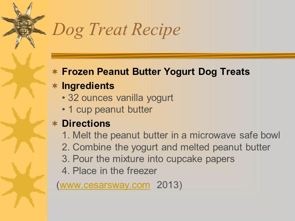 Dog Treat Recipe  Frozen Peanut Butter Yogurt Dog Treats  Ingredients 32 ounces vanilla yogurt 1 cup peanut butter  Directions 1.