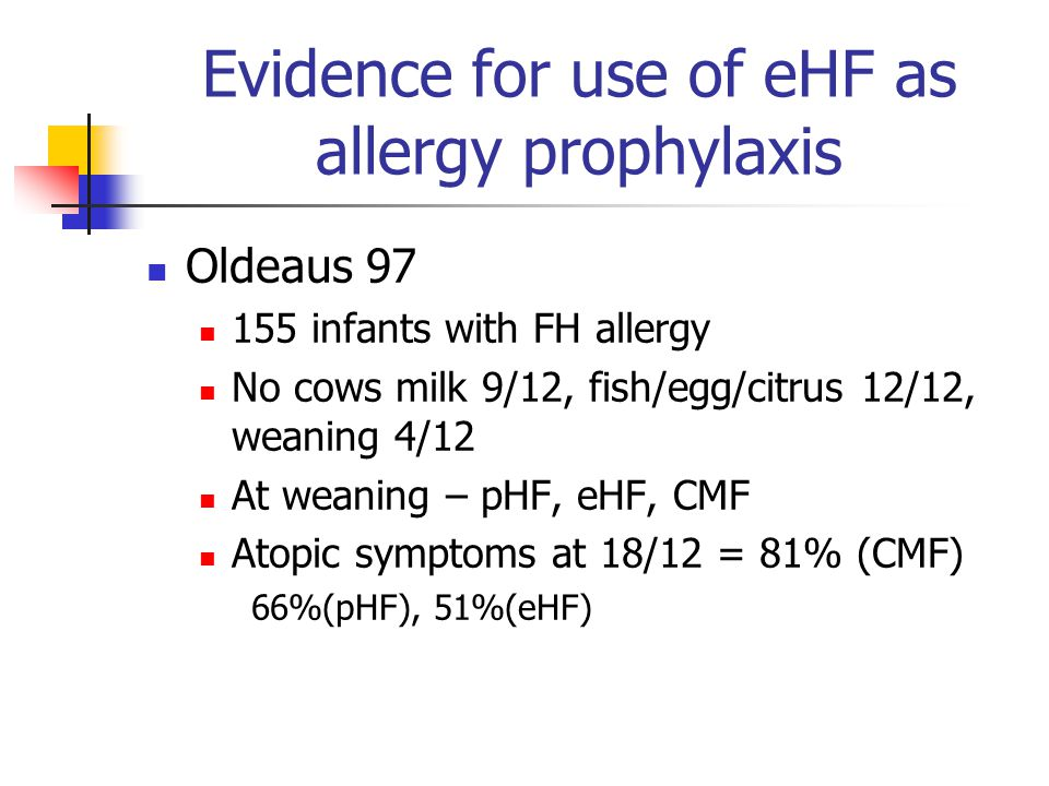 Evidence for use of eHF as allergy prophylaxis Oldeaus 97 155 infants with FH allergy No cows milk 9/12, fish/egg/citrus 12/12, weaning 4/12 At weanin