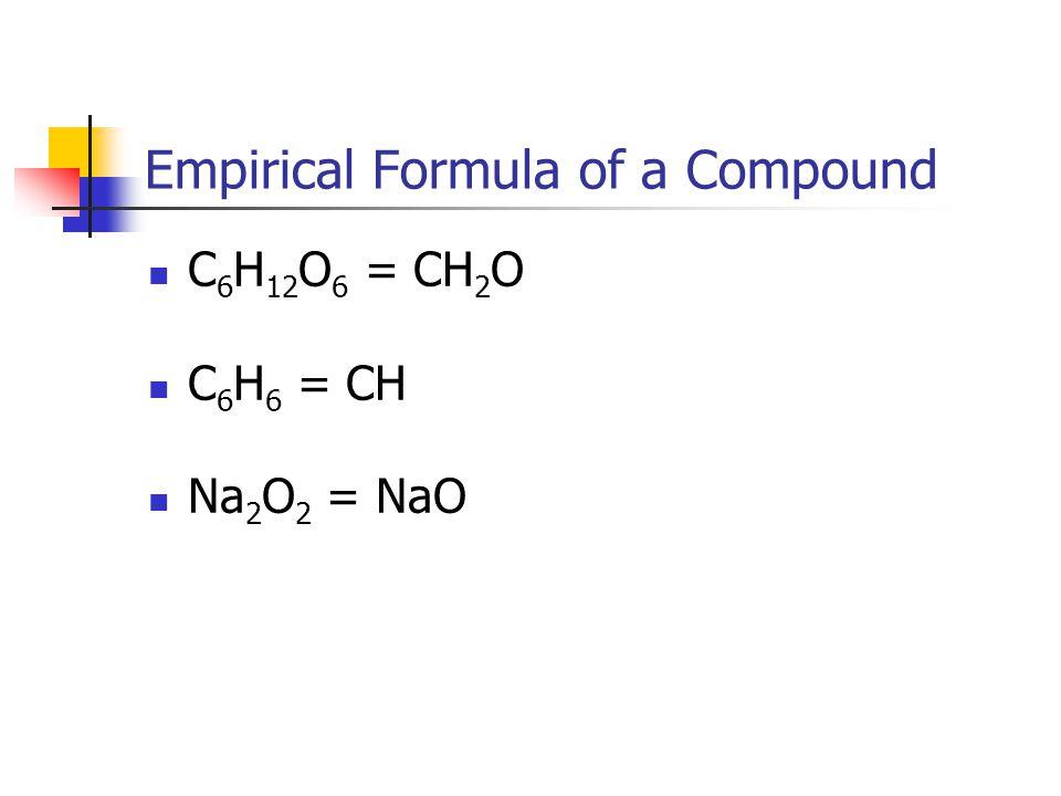 Empirical Formula of a Compound C 6 H 12 O 6 = CH 2 O C 6 H 6 = CH Na 2 O 2 = NaO