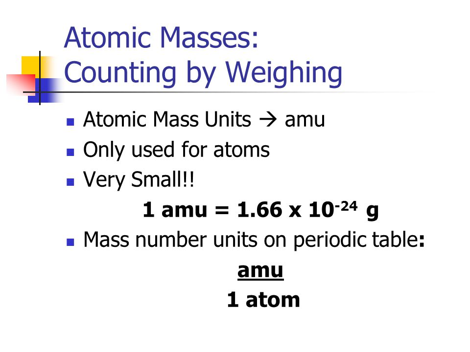 Atomic Masses: Counting by Weighing Atomic Mass Units  amu Only used for atoms Very Small!! 1 amu = 1.66 x 10 -24 g Mass number units on periodic tab