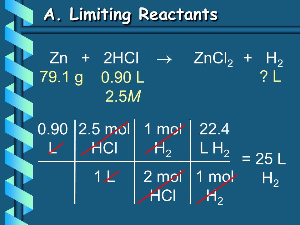 A. Limiting Reactants 22.4 L H 2 1 mol H 2 0.90 L 2.5 mol HCl 1 L = 25 L H 2 1 mol H 2 2 mol HCl Zn + 2HCl  ZnCl 2 + H 2 79.1 g ? L 0.90 L 2.5M