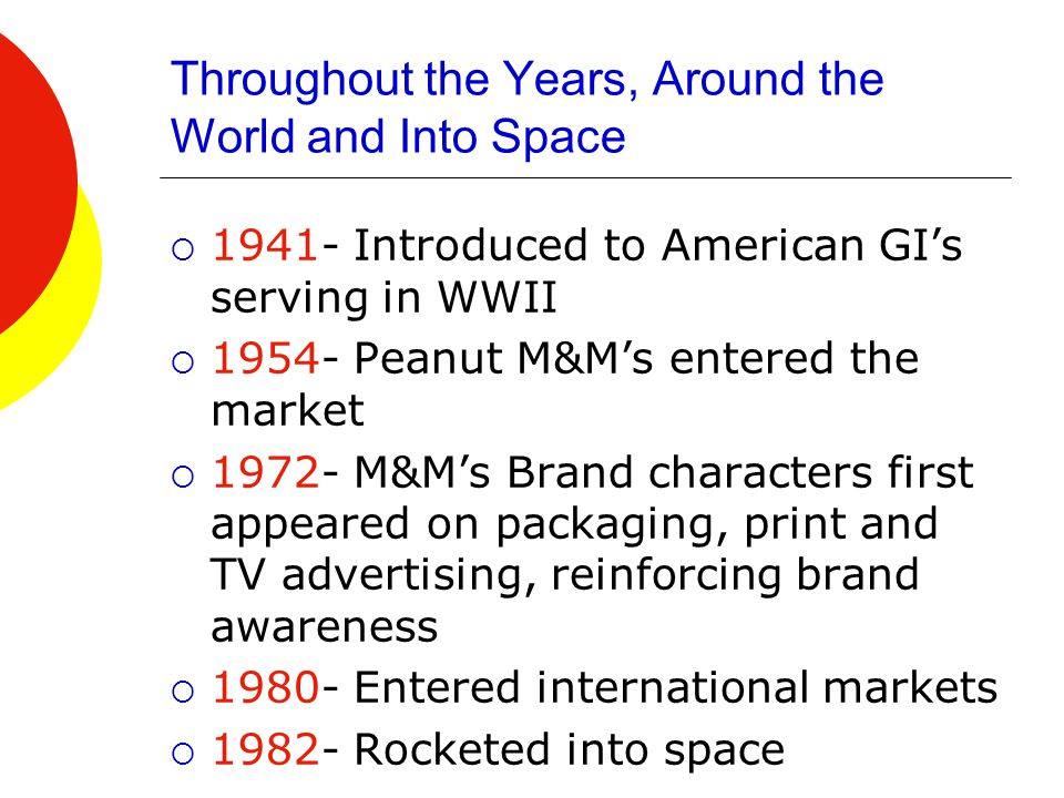 Throughout the Years, Around the World and Into Space  1941- Introduced to American GI's serving in WWII  1954- Peanut M&M's entered the market  1972- M&M's Brand characters first appeared on packaging, print and TV advertising, reinforcing brand awareness  1980- Entered international markets  1982- Rocketed into space