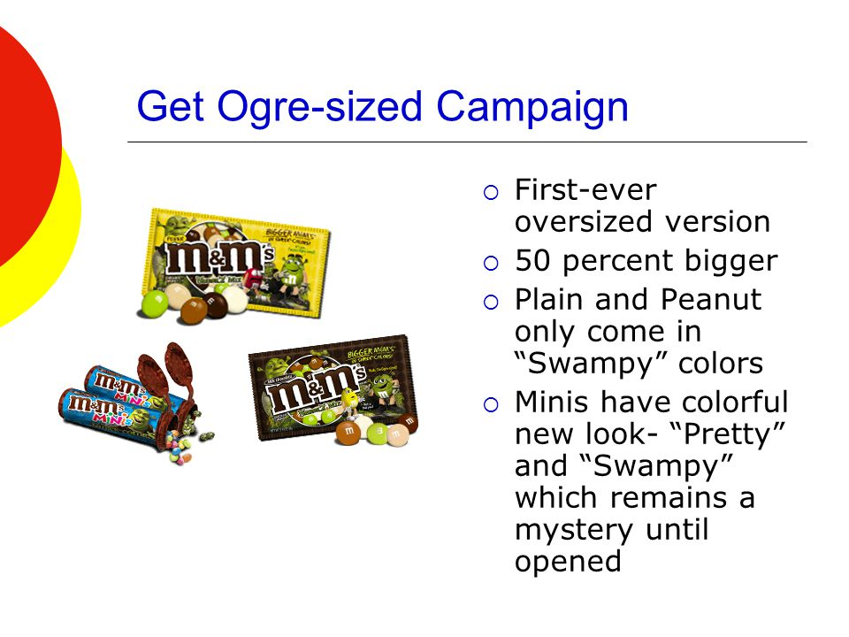 Get Ogre-sized Campaign  First-ever oversized version  50 percent bigger  Plain and Peanut only come in Swampy colors  Minis have colorful new look- Pretty and Swampy which remains a mystery until opened