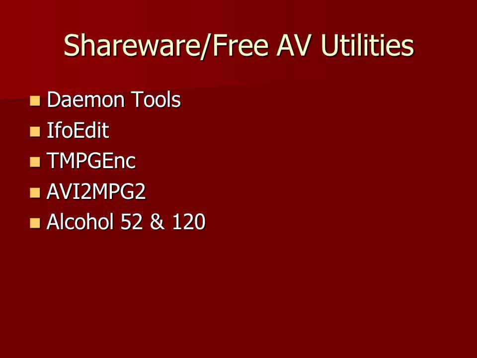 Shareware/Free AV Utilities Daemon Tools Daemon Tools IfoEdit IfoEdit TMPGEnc TMPGEnc AVI2MPG2 AVI2MPG2 Alcohol 52 & 120 Alcohol 52 & 120