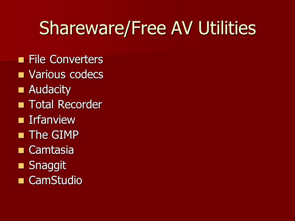Shareware/Free AV Utilities File Converters File Converters Various codecs Various codecs Audacity Audacity Total Recorder Total Recorder Irfanview Irfanview The GIMP The GIMP Camtasia Camtasia Snaggit Snaggit CamStudio CamStudio