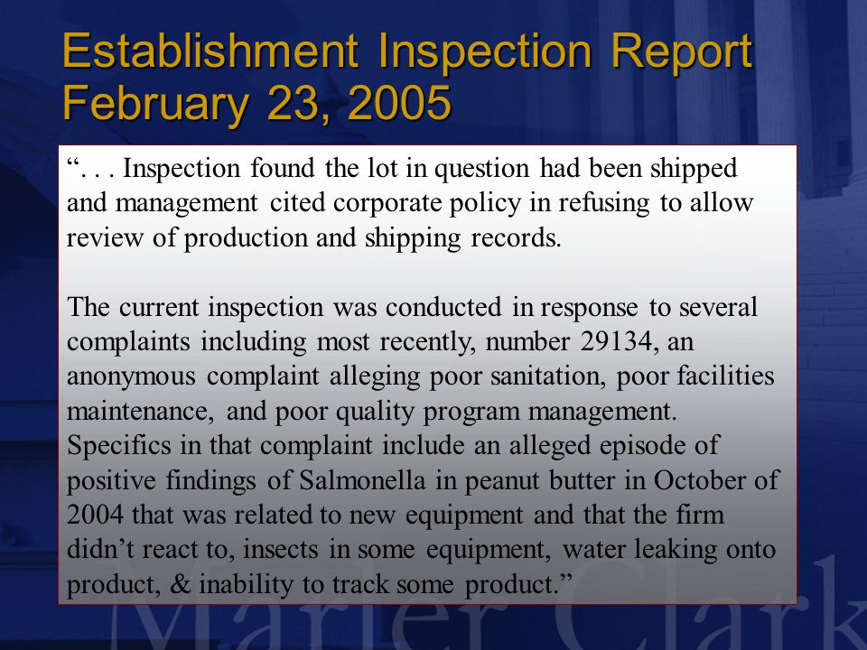 Establishment Inspection Report February 23, 2005 ...