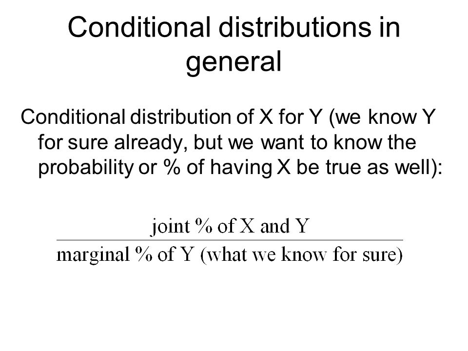 Conditional distributions in general Conditional distribution of X for Y (we know Y for sure already, but we want to know the probability or % of havi