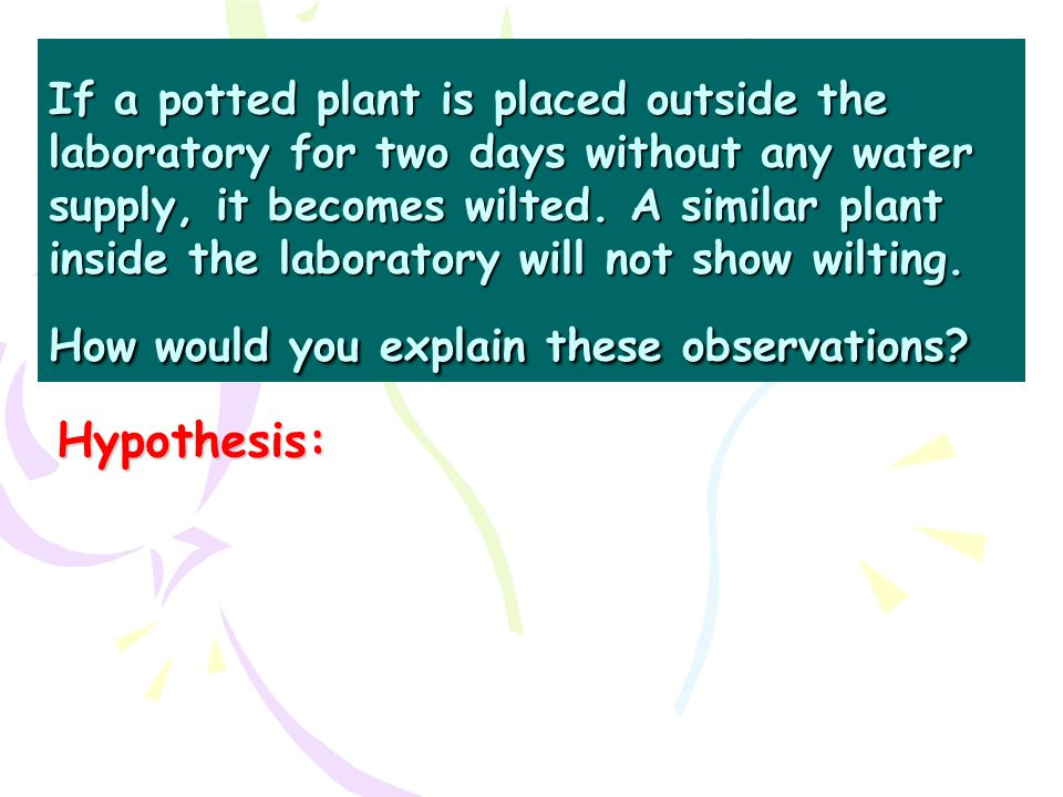 If a potted plant is placed outside the laboratory for two days without any water supply, it becomes wilted. A similar plant inside the laboratory wil