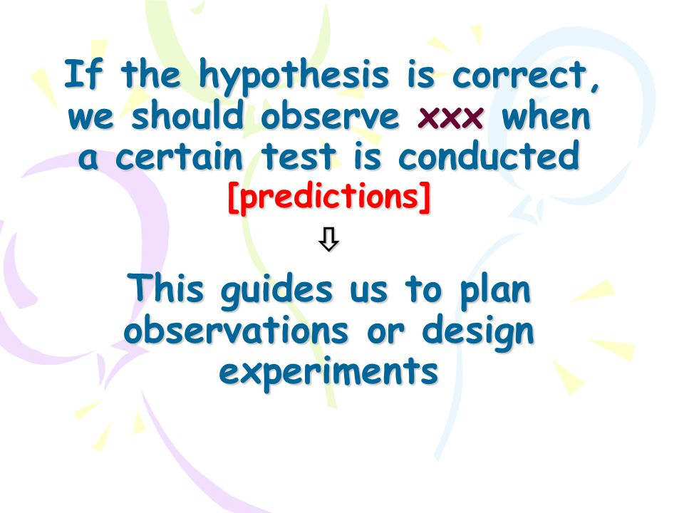 If the hypothesis is correct, we should observe xxx when a certain test is conducted [predictions]  This guides us to plan observations or design exp