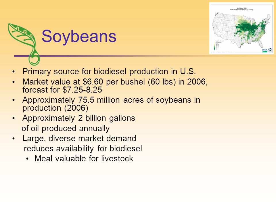 Soybeans Primary source for biodiesel production in U.S.