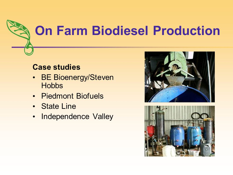 On Farm Biodiesel Production Case studies BE Bioenergy/Steven Hobbs Piedmont Biofuels State Line Independence Valley