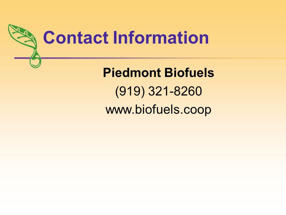 Contact Information Piedmont Biofuels (919) 321-8260 www.biofuels.coop