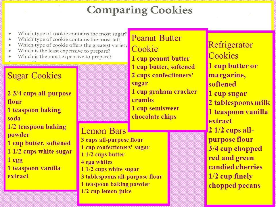 32 Sugar Cookies 2 3/4 cups all-purpose flour 1 teaspoon baking soda 1/2 teaspoon baking powder 1 cup butter, softened 1 1/2 cups white sugar 1 egg 1