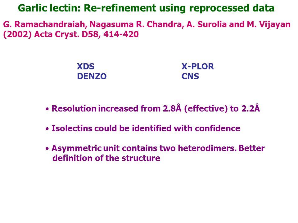 Garlic lectin: Re-refinement using reprocessed data G. Ramachandraiah, Nagasuma R. Chandra, A. Surolia and M. Vijayan (2002) Acta Cryst. D58, 414-420