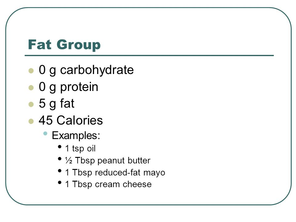 Fat Group 0 g carbohydrate 0 g protein 5 g fat 45 Calories Examples: 1 tsp oil ½ Tbsp peanut butter 1 Tbsp reduced-fat mayo 1 Tbsp cream cheese