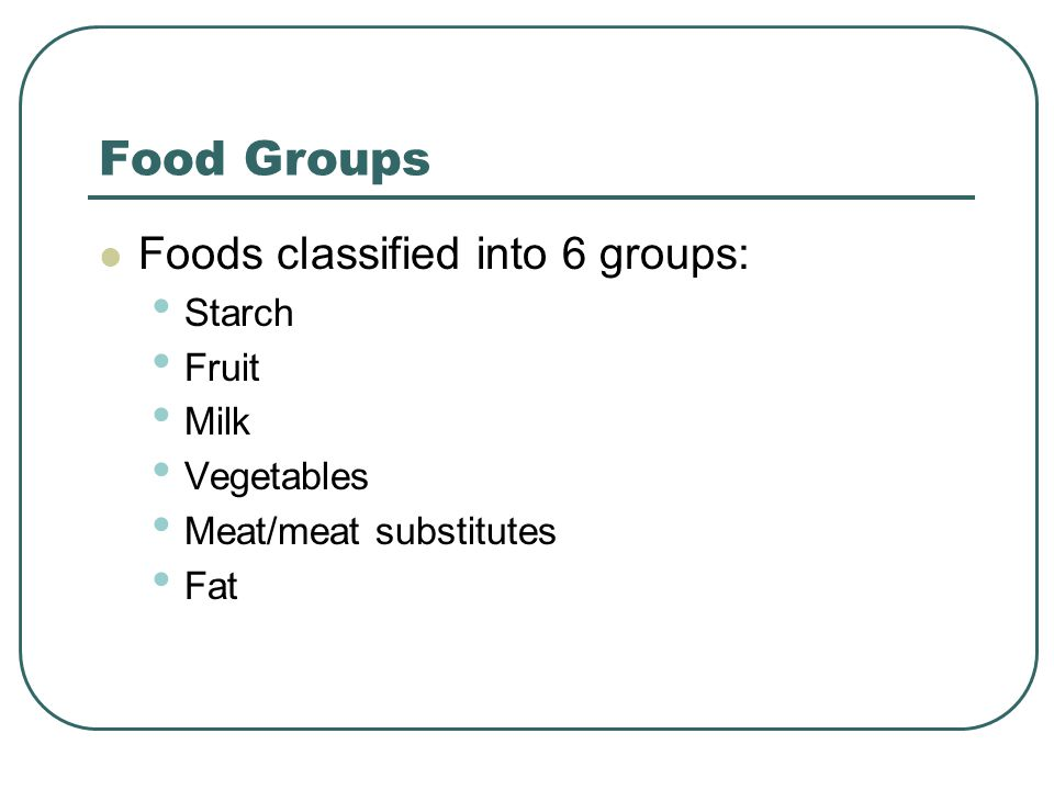 Food Groups Foods classified into 6 groups: Starch Fruit Milk Vegetables Meat/meat substitutes Fat