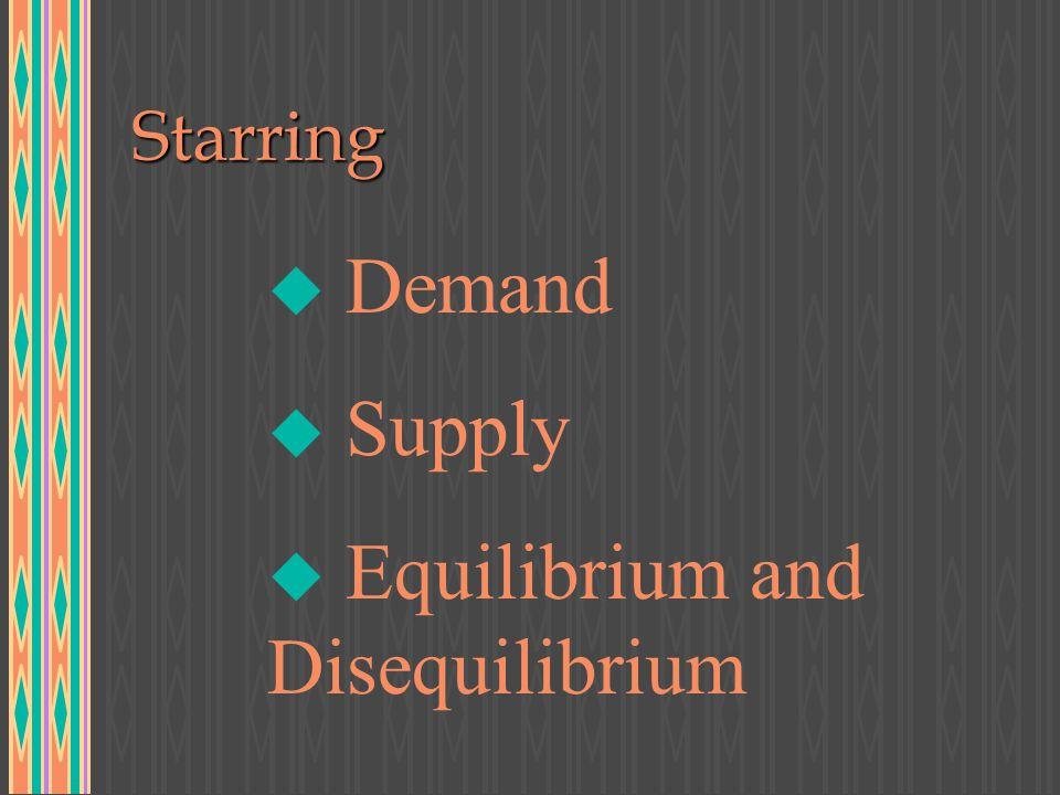 Featuring u The Law of Demand u D = D(PENTE) u The Tendency of Supply u S = S(PENT) u Equilibrium/Disequilibrium