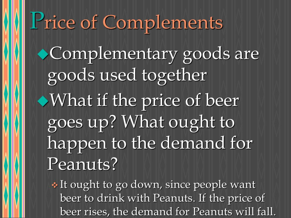 P rice of Complements u Complementary goods are goods used together u What if the price of beer goes up.
