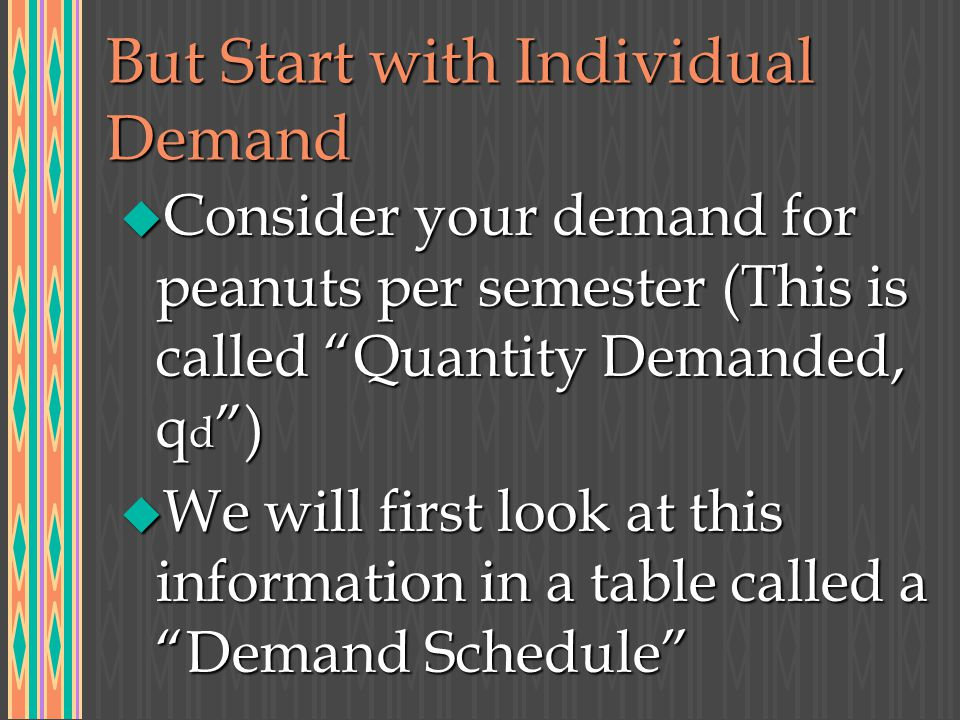 But Start with Individual Demand u Consider your demand for peanuts per semester (This is called Quantity Demanded, q d ) u We will first look at this information in a table called a Demand Schedule