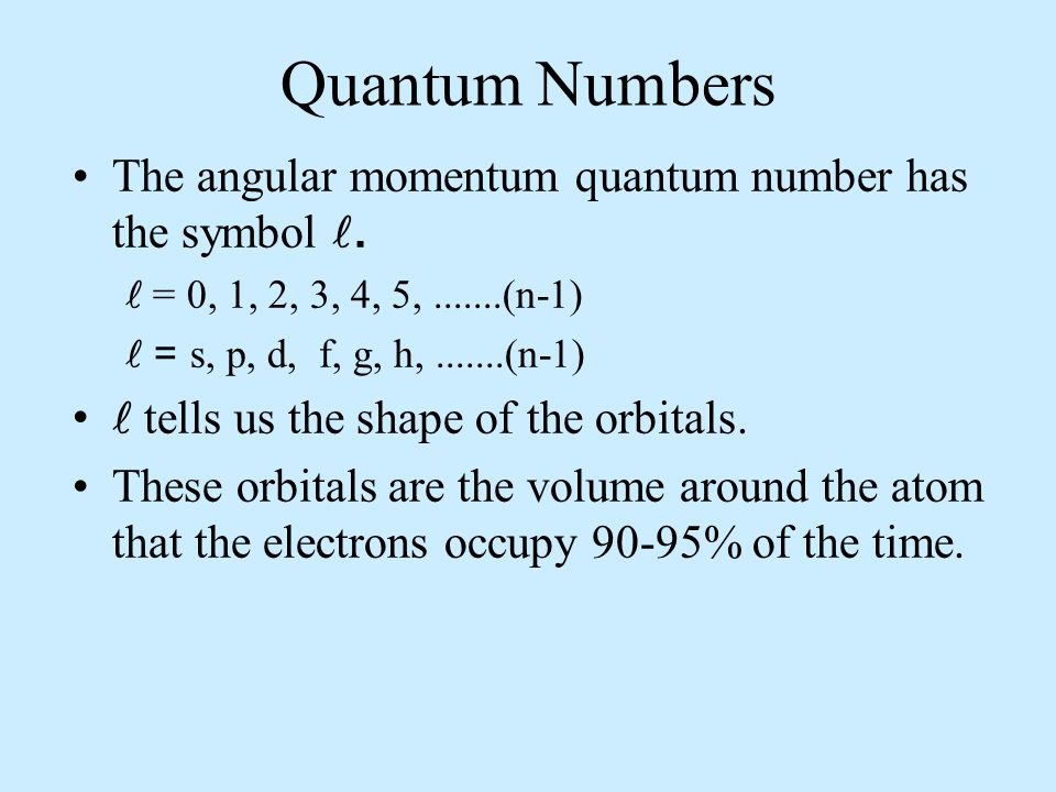 Quantum Numbers The symbol for the magnetic quantum number is m, representing the spatial orientation.