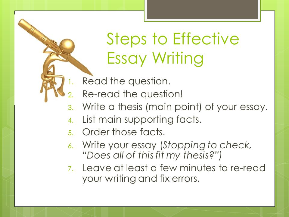 Steps to Effective Essay Writing 1. Read the question.