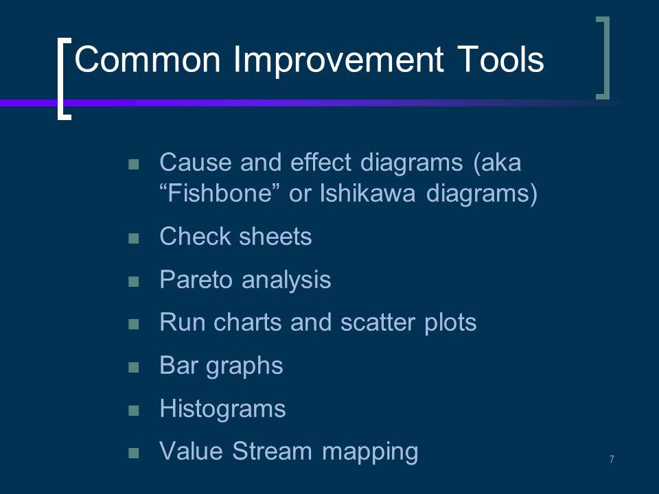 """Common Improvement Tools Cause and effect diagrams (aka """"Fishbone"""" or Ishikawa diagrams) Check sheets Pareto analysis Run charts and scatter plots Bar"""