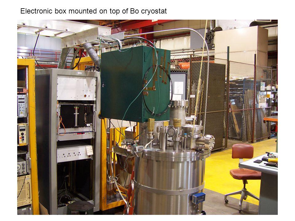 Electronic box mounted on top of Bo cryostat