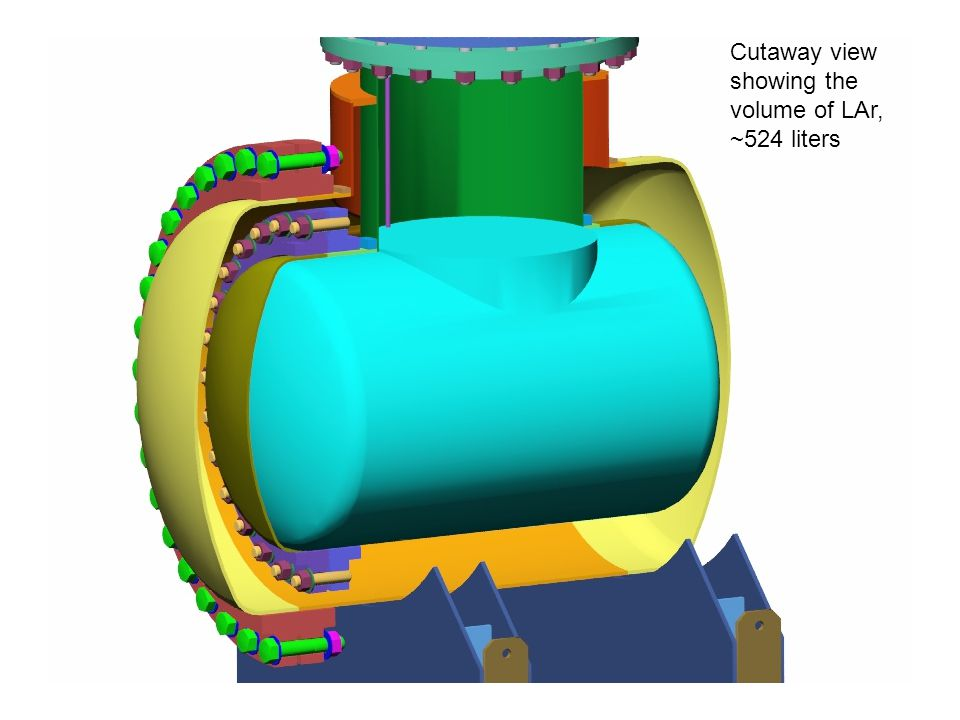 Cutaway view showing the volume of LAr, ~524 liters