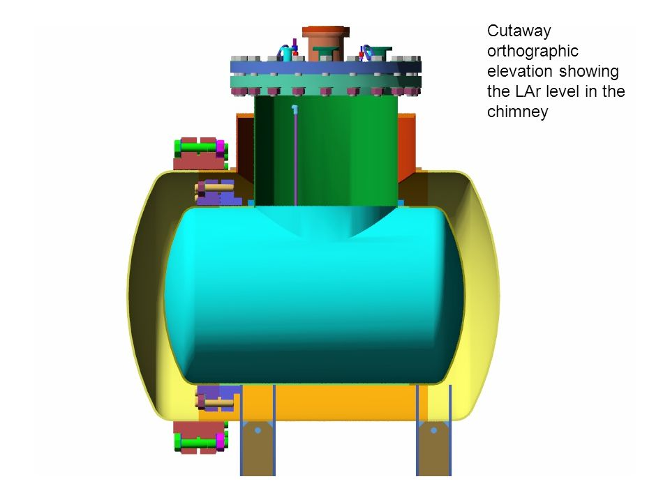 Cutaway orthographic elevation showing the LAr level in the chimney