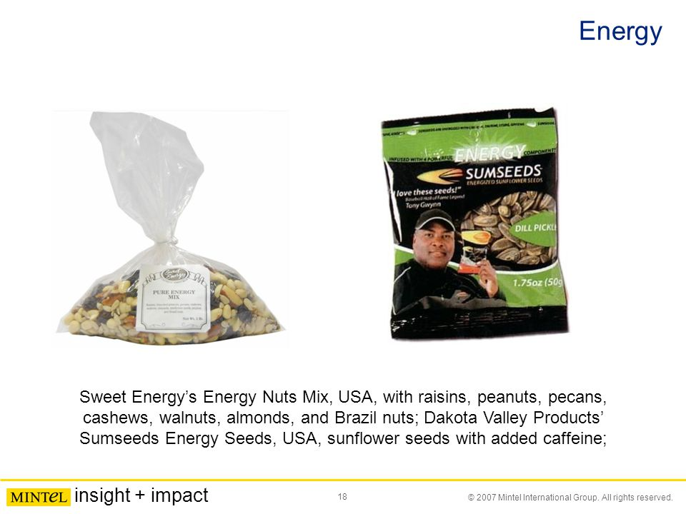 18 © 2007 Mintel International Group. All rights reserved. insight + impact Energy Sweet Energy's Energy Nuts Mix, USA, with raisins, peanuts, pecans,