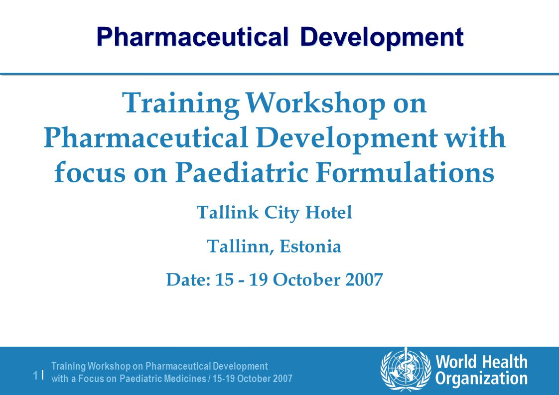 Training Workshop on Pharmaceutical Development with a Focus on Paediatric Medicines / 15-19 October 2007 12 | Solvents/Co-Solvents Water is the solvent most widely used as a vehicle due to: – Lack of toxicity, physiological compatibility, and good solubilising power (high dielectric constant), but Likely to cause instability of hydrolytically unstable drugs Good vehicle for microbial growth Sorbitol, dextrose, etc.