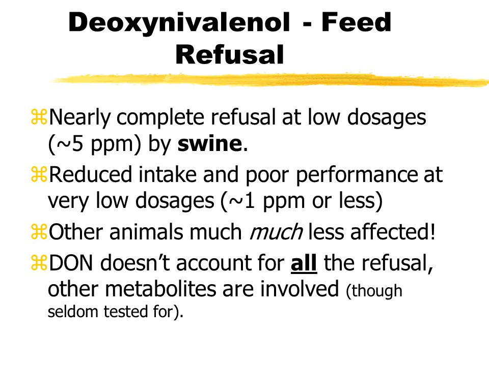 Deoxynivalenol zFeed refusal factor for pigs.