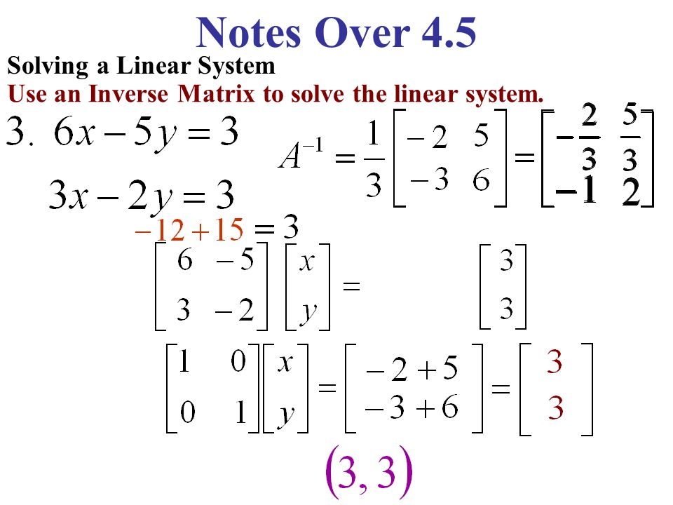 Solving a Linear System Use an Inverse Matrix to solve the linear system.