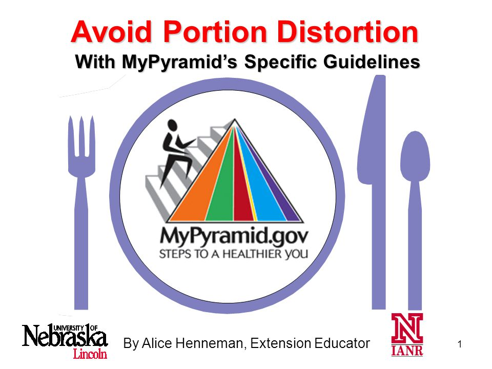 1 By Alice Henneman, Extension Educator With MyPyramid's Specific Guidelines Avoid Portion Distortion