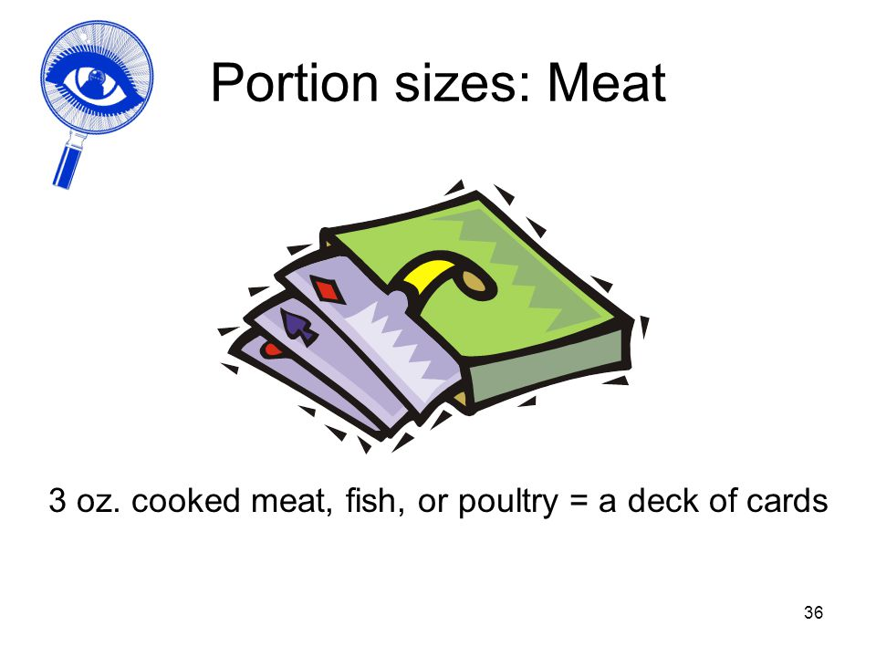 36 Portion sizes: Meat 3 oz. cooked meat, fish, or poultry = a deck of cards