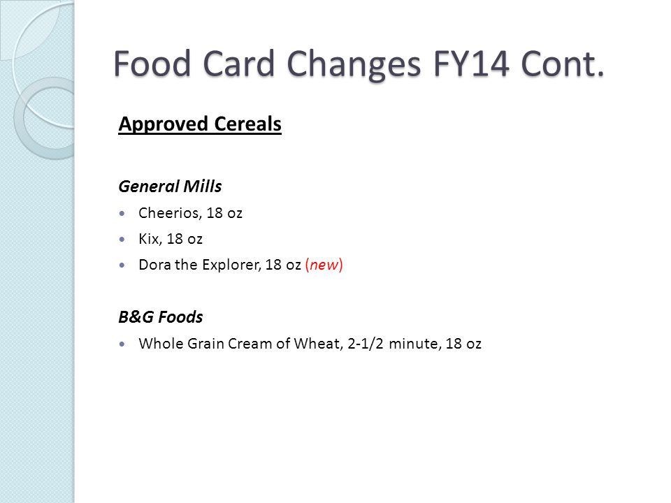 Food Card Changes FY14 Cont.
