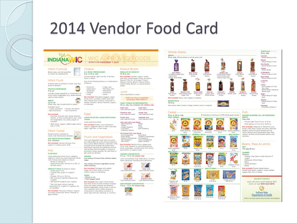 2014 Vendor Food Card