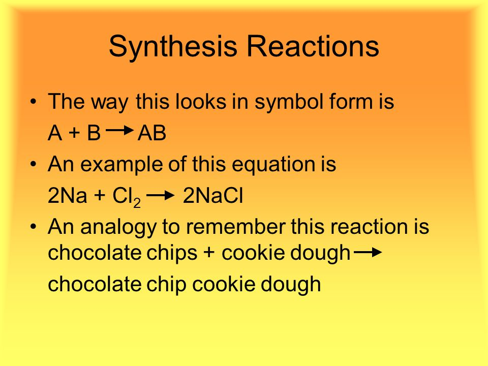 Synthesis Reactions The way this looks in symbol form is A + B AB An example of this equation is 2Na + Cl 2 2NaCl An analogy to remember this reaction