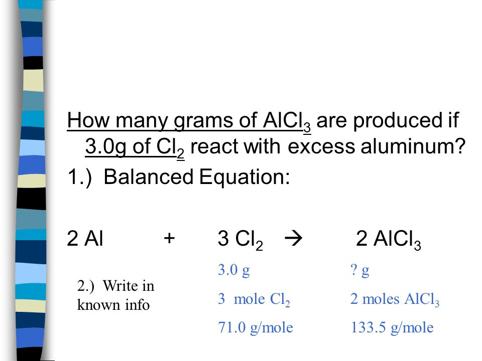 How many grams of AlCl 3 are produced if 3.0g of Cl 2 react with excess aluminum.