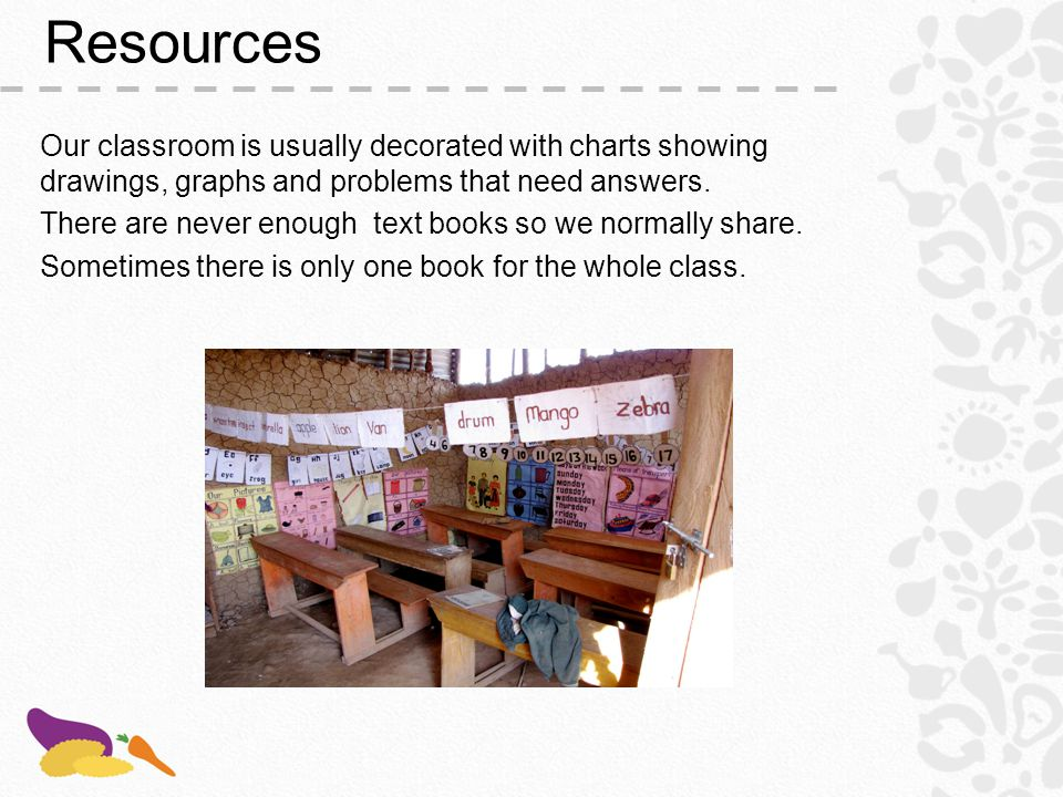 Resources Our classroom is usually decorated with charts showing drawings, graphs and problems that need answers.