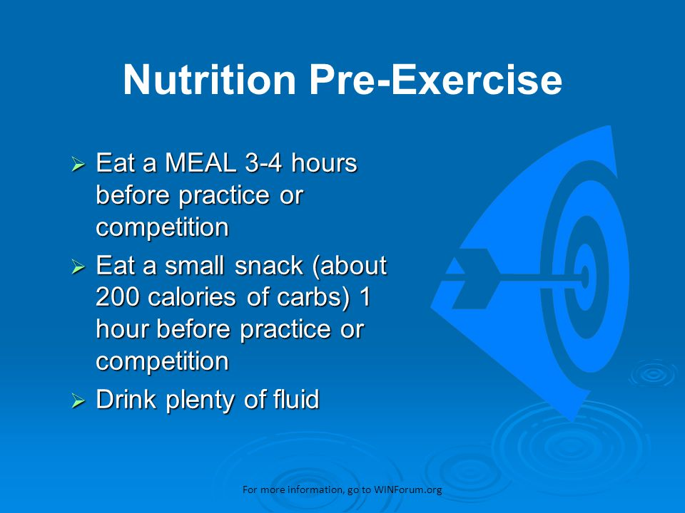  Pre-Event Nutrition  Fuel During Exercise  Recovery Nutrition Winning Sport Nutrition For more information, go to WINForum.org