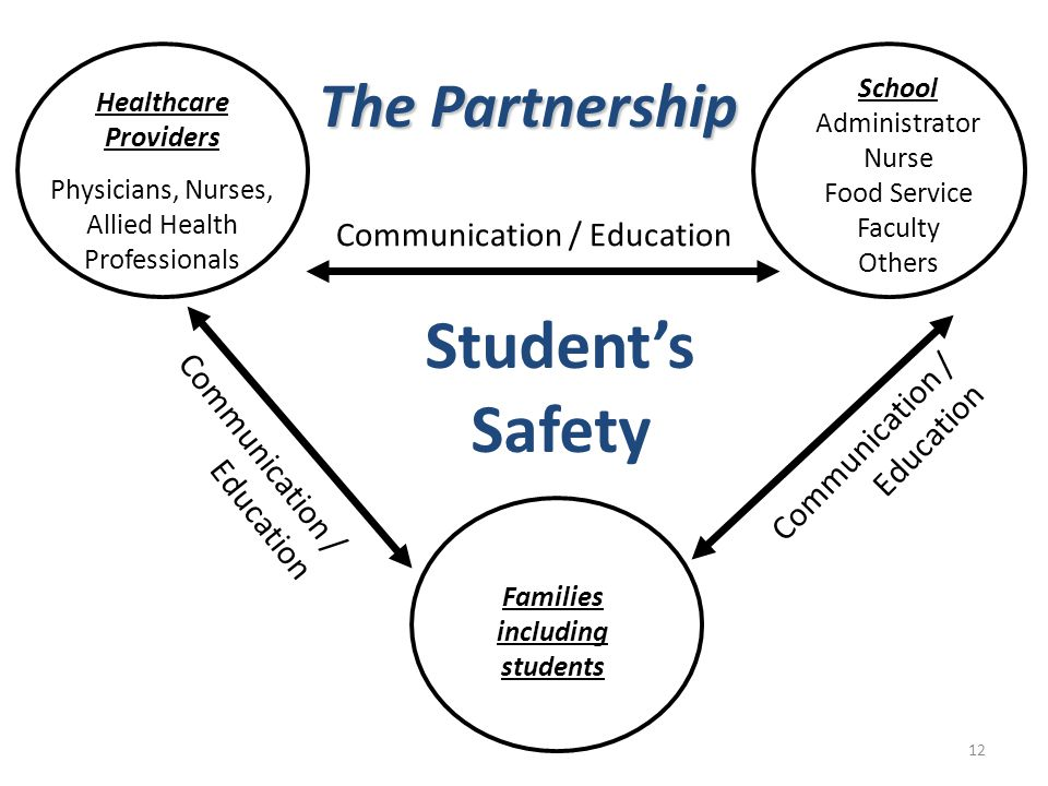 12 Student's Safety Healthcare Providers Physicians, Nurses, Allied Health Professionals School Administrator Nurse Food Service Faculty Others Families including students Communication / Education The Partnership Communication / Education