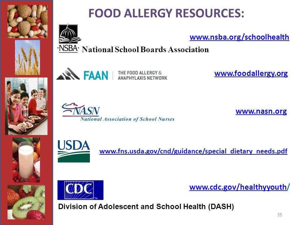 35 FOOD ALLERGY RESOURCES: www.foodallergy.org www.nasn.org www.cdc.gov/healthyyouth/ www.cdc.gov/healthyyouth National School Boards Association Division of Adolescent and School Health (DASH) www.nsba.org/schoolhealth www.fns.usda.gov/cnd/guidance/special_dietary_needs.pdf